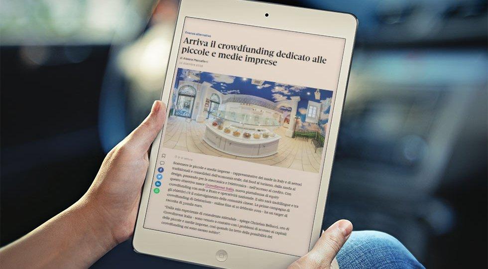 Articolo Il Sole 24 Ore CrowdInvest Campagna Equity Crowdfunding Gelatarium